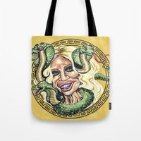 versace Tote Bags featuring Donatella Versace by Eliza Brown Art