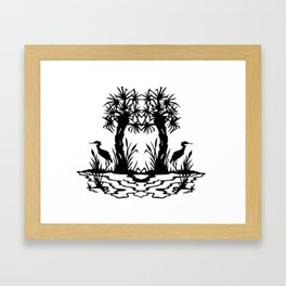 Lowcountry Herons - Papercut Silhouette Scherenschnitte Framed Art Print