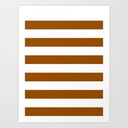 Horizontal Stripes - White and Brown Art Print