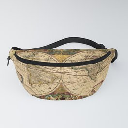 1663 Orbis Geographica Old World Map by Henri Hondius Fanny Pack