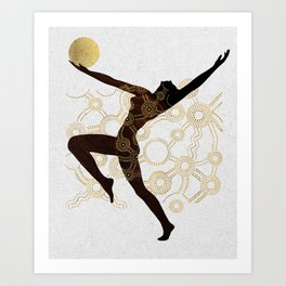 Cosmic Aboriginal Ethnic Black Gold Dancer Art Print
