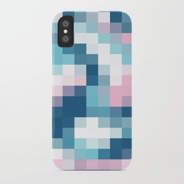 Mat Map Squares Aqua iPhone Case