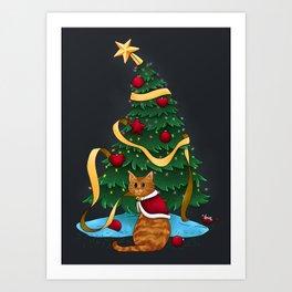 Guilty Christmas Kitty Art Print