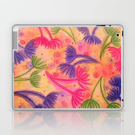 COW PARSLEY 3 - Happy Neon Pink Cherry Acid Green Nature Floral Abstract Watercolor Painting Pattern Laptop & iPad Skin