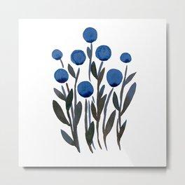 Simple watercolor flowers - midnight blue Metal Print