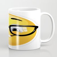emoji Mugs featuring Smiling Geek Emoji!  by Happy Positivity