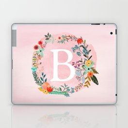 Flower Wreath with Personalized Monogram Initial Letter B on Pink Watercolor Paper Texture Artwork Laptop & iPad Skin