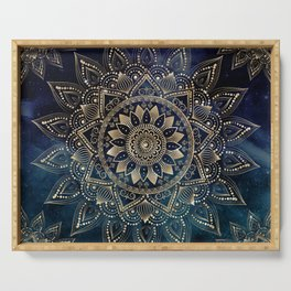 Elegant Gold Mandala Blue Galaxy Design Serving Tray