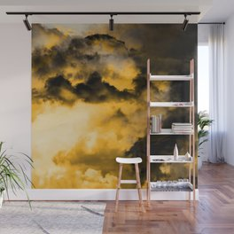 Vitality - Cloudy Abstract In Orange And Black Wall Mural