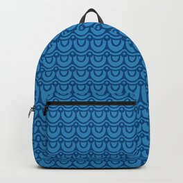 Classic Blue Boho Festival Abstract Wave Geometric Pattern Backpack