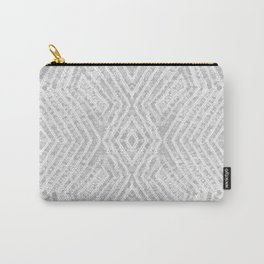 Grey African Dye Resist Fabric Carry-All Pouch