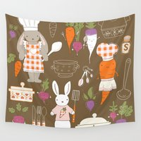 chef Wall Tapestries featuring Rabbit Chef by Lara Lockwood