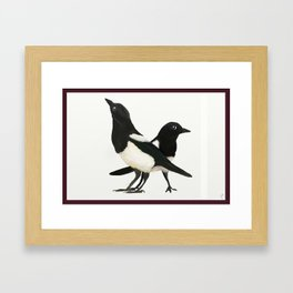 Two For Joy - Magpie Pair Framed Art Print