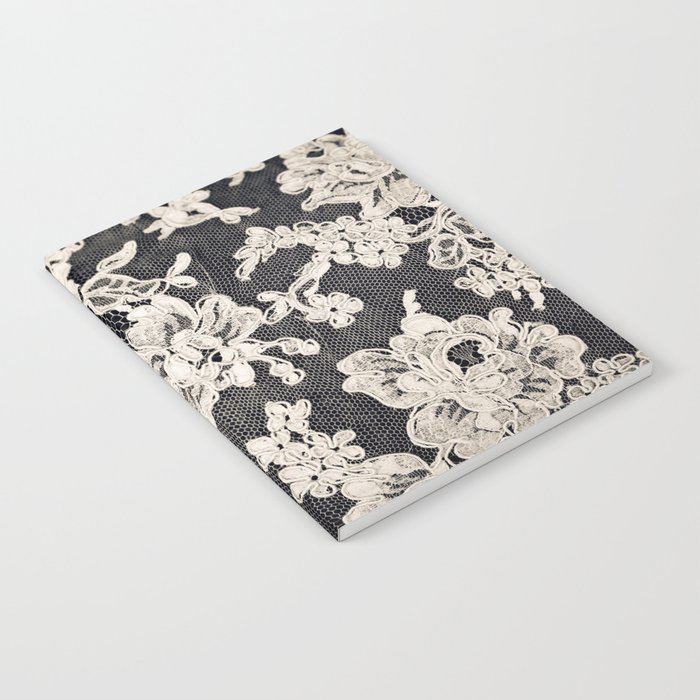 black and white lace- Photograph of vintage lace Notebook