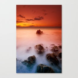 Sunset at Rocky Coast Canvas Print