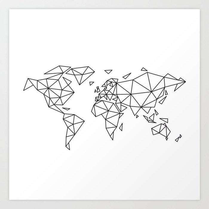 Geometric world map Art Print by illustree | Society6
