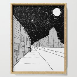Night Sky in Middling City Serving Tray