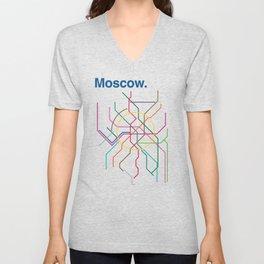 Moscow Transit Map Unisex V-Neck