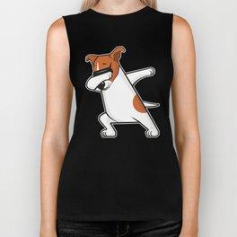 Dabbing Jack Russell Dog. Funny, cool dancing puppy. Dab dance. Cartoon dog. Biker Tank