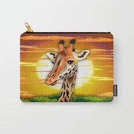 Giraffe on Wild African Savanna Sunset Carry-All Pouch