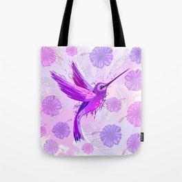 Hummingbird Spirit Purple Watercolor Tote Bag
