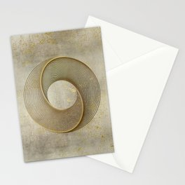 Geometrical Line Art Circle Distressed Gold Stationery Cards