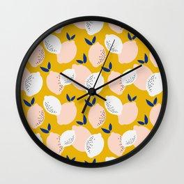Fresh Pink and Yellow Lemons Repeat Pattern Wall Clock