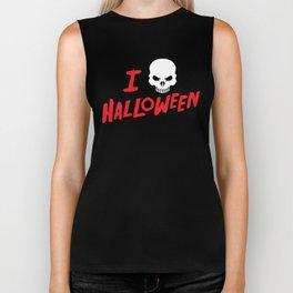 October 31st Fall Autumn Fun I Love Halloween Spooky Skull Biker Tank