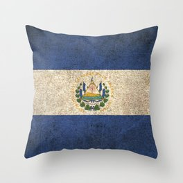 Old and Worn Distressed Vintage Flag of El Salvador Throw Pillow