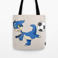 digimon Tote Bags featuring Digimon - V-mon by Hacha