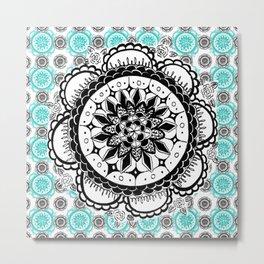 Teal and Black Mandala Pattern Metal Print