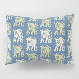 Mid Century Horse Pattern Blue Chartreuse and Beige Pillow Sham