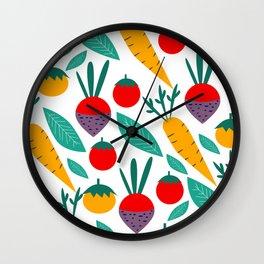 Joyful vegetables and fruits Wall Clock
