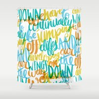 vonnegut Shower Curtains featuring ...JUMPING OFF CLIFFS by Matthew Taylor Wilson