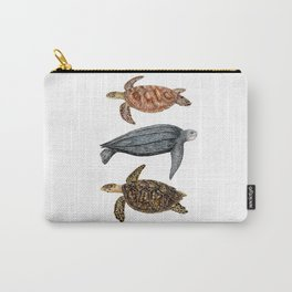 Green, leatherback and hawksbill sea turtles Carry-All Pouch