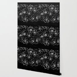 White ink. graphic with white ink and black cardboard. flowers Wallpaper
