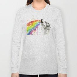 Wolf Rainbow Watercolor Animal Long Sleeve T-shirt