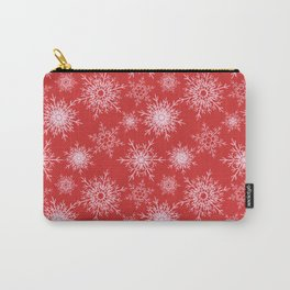 Christmas pattern with snowflakes on red. Carry-All Pouch