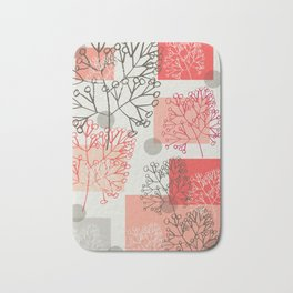 Branches grey graphic retro Bath Mat