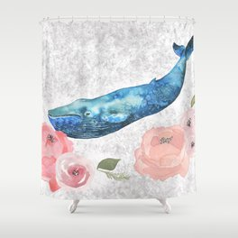 Whale Amongst the Roses Shower Curtain