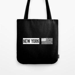 Black & White U.S. Flag: New York Tote Bag