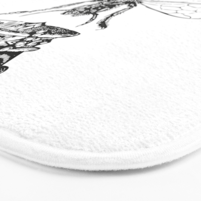 Queen Bee | Black and White Bath Mat