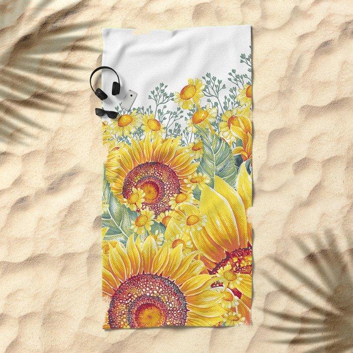 Vintage Garden 15 (Sunflower Field) Beach Towel