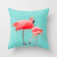 flamingos Throw Pillows featuring Flamingos  by Xchange Art Studio
