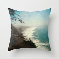 big sur Throw Pillows featuring Big Sur - Jagged Edge by Jenndalyn