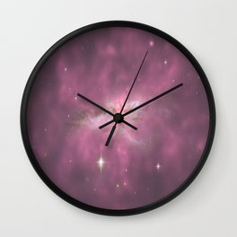 Pastel Purple Galaxy Collision Wall Clock