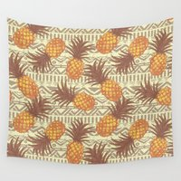 pineapples Wall Tapestries featuring pineapples by Julia