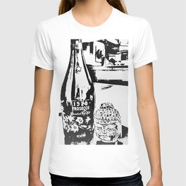 Sketched Buddha & Bottle White on Black T-shirt