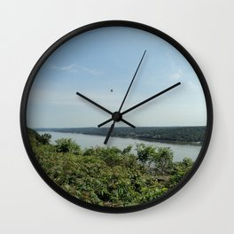 Bird soaring over the Palisades and Hudson from the New York Side Wall Clock