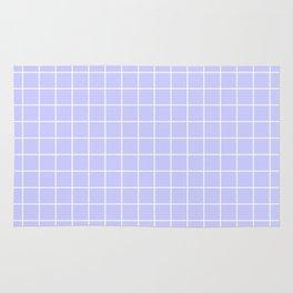 Lavender blue - heavenly color - White Lines Grid Pattern Rug